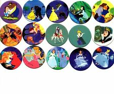 DISNEY BEAUTY & THE BEAST CINDERELLA MOVIES CAPS Tazos Collection Set of 15 pogs