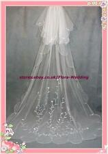 "2-TIER CHAPEL/CATHEDRAL LONG TRAILING BRIDAL WEDDING VEIL,EMBROIDERY DESIGN,95""L"