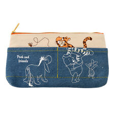 Winnie the Pooh & Friends Pen Case Pencil Pouch Denim ❤ Disney Store Japan