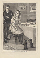 ADORABLE CATS KITTENS BEGGING AT KITCHEN TABLE GIRL EATING ANTIQUE PRINT 1904