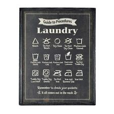 Laundry Sign Black Wooden Framed Picture Plaque Utility Wash Room Instructions