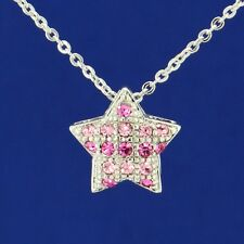 W Swarovski Crystal Star Pink Color Charm Necklace Jewelry Pendant Gift