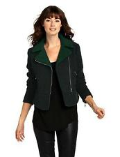 NEW French Connection Tweed Moto Jacket (Green) Women's Coat Size 4