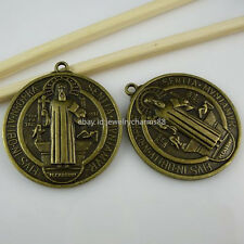 10707 2PC St Benedict Peace PAX Cross Pendant Exorcize Demon Vintage Bronze Tone
