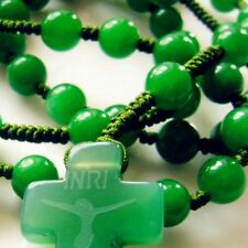 Rare Green Jade BEAD Rosary Beads Cross CRUCIFIX CATHOLIC NECKLACE