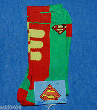 DC Comics SUPERMAN 1 pr crew socks - green with red yellow - mens shoe sz 6-12