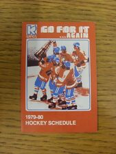1979/1980 Fixture Card: Ice Hockey - Kalamazoo Wings (fold out style). Any fault
