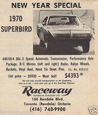 1970 Rare ad for Plymouth Superbird  Raceway Plymouth Ontario 6 x 6 Giclee print