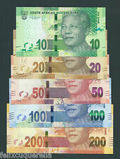 F.C. SUDAFRICA SOUTH AFRICA , SET 10-20-50-100-200 RAND 2012 , S/C ( UNC ) .