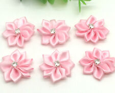 New 10pcs 25mm Poinsettia Satin Ribbon Flower For DIY Decoration Applique Pink 4