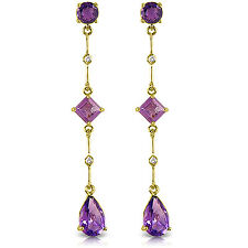 6.06 Carat 14K Solid Gold Chandelier Earrings Diamond Amethyst