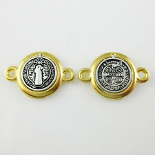 100pcs of Catholic Gold and Silver Saint Benedict Medal Connector Junction