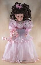 "Cathay Collection Porcelain Doll 16"" Dark Brown Curly Hair Brown Eyes w/Stand"