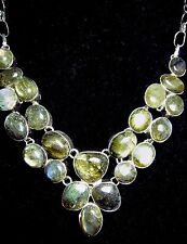 925 Silver bib Necklace Labradorite green golden brown blue 22 gemstones 18""