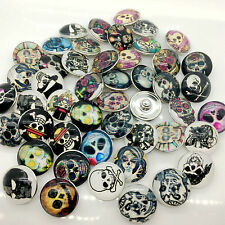 15pcs Snaps Button 18mm Skull Mix Style Ginger Snaps Chunk Charm Galss Button