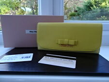 Magnifique 100% authentique Miu Miu gold & jaune deux tons bow leather purse wallet