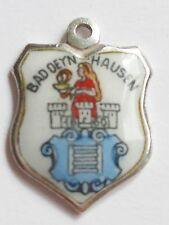 BAD DEYN HAUSEN    vintage silver & enamel travel shield bracelet charm