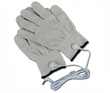Pair Of Conductive Fibre Electrode Gloves E-Stim/EStim Tens Machine With Leads