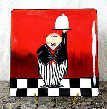 """TRACY FLICKINGER FAT CHEF WAITER Dinner in Served! REHEATING SQUARE PLATE 8.5"""""""