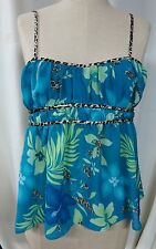 WOMANS SECRET TREASURES TURQUOISE SHEER FLORAL PRINT TOP SIZE S 4/6
