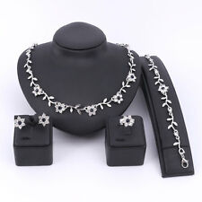 Fashion Women Rhinestone Necklace Earring Bracelet Ring Party Jewelry Sets