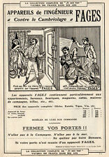 FAGES APPAREIL CONTRE CAMBRIOLAGE PORTE PUBLICITE 1905 FRENCH AD