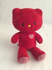 """BUILD A BEAR red GINGHAM CHECKERED HELLO KITTY 19"""" NO BOW plush stuffed animal"""