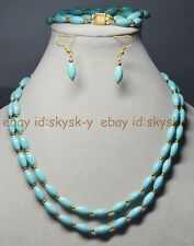 2 Rows Natural 6x11mm Blue Turquoise Rice Gems Beads Necklaces Brecelet Earrings