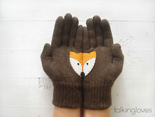 Artist Handmade Unisex Womans Kids Knit GLOVES Mittens BROWN FOX Wool Angora
