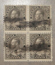 1912 Canada Stamp Admiral Block 50 Cents #120 Used Canadian