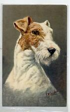 Artist Signed J. HIRST FOX TERRIER dog Vintage PC Circa 1920 Cane