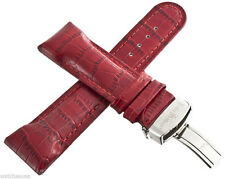 New! Genuine Techno Master 25mm Red Leather Watch Band Strap