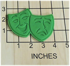 Comedy Tragedy Mask Faces Fondant Cookie Cutter and Stamp #1250