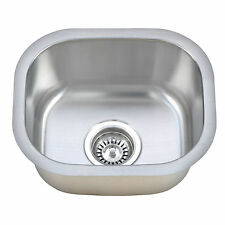 """13"""" x 15""""  Brushed Stainless Steel Undermount Commercial/Residential Bar Sink"""