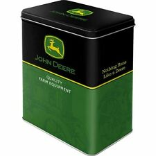 Vintage Style Retro Lidded Storage Tin - John Deere Logo - Black & Green