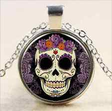 Vintage Skull Cabochon Tibet silver Glass Chain Pendant Necklace@