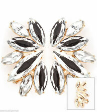 "Ear Cuffs Earrings Women Cuff Silver Clip on 2"" Gold Tone B&W Pair"