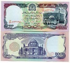 P 62 AFGHANISTAN 5000 AFGHANIS BANK NOTE MONEY UNC