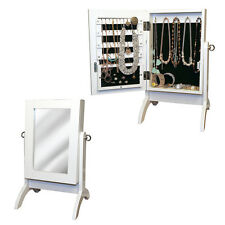 WHITE TABLE TOP STANDING MIRROR JEWELLERY ARMOIRE CABINET ORGANISER STORAGE BOX