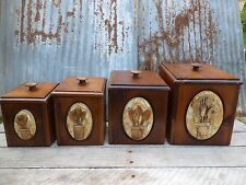 VTG KITCHEN CANISTERS/ WOOD CANISTERS/ MID-CENTURY CANISTERS/ COUNTRY FARMHOUSE