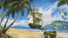New PIRATE SHIP PREPASTED WALLPAPER MURAL Pirates Room Decor Wall Decorations