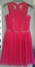 BNWT *LIPSY* STUDDED CUT OUT DRESS,14(UK), PARTY,PLEATED,SUPER PINK, £65,Holiday