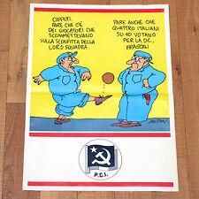 PCI poster manifesto affiche Politica Partito Comunismo Calcio Altan Cipputi