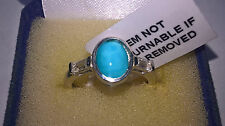 AZ Sleeping Beauty Turquoise & White Topaz Plat/925 Ring Size L/5.5