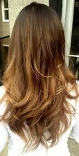 """Full Head Clip in Human Hair Extensions Remy Ombre Dip Dye Straight 18"""" Blonde"""