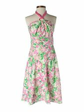 New Women Lilly Pulitzer Silk Blend Pink Green Laurel Flower Dress Size 2