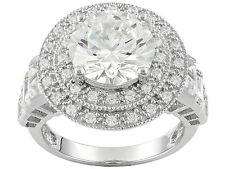 Bella Luce  8.80ctw Round And Baguette Rhodium Plated Sterling Silver Ring size5