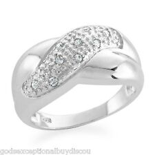 MENS OR WOMENS NATURAL DIAMOND WEDDING BAND RING SZ 7 SPECIAL! CROSS OVER STYLE