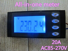 AC 20A Combo Panel Meter Power Monitor Voltage Amp KWh Watt work time 110v 220v