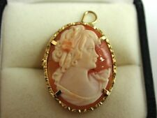 Beautiful Vintage Cameo in solid silver which is gilt  Pendant or Brooch Pin